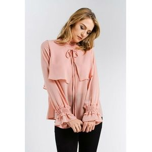 Ruffle Smock Neck Detail Bell Sleeve Blouse
